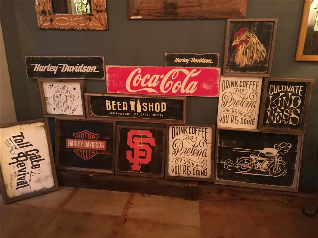 Great collection of signs. Americana made from my friends in Greenville CA. out of recycled barn woo(..)